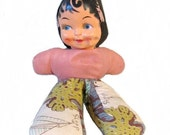 Carnival pixie doll -  Stuffed body and plastic or celluloid Kewpie face - 1940s to 1950s