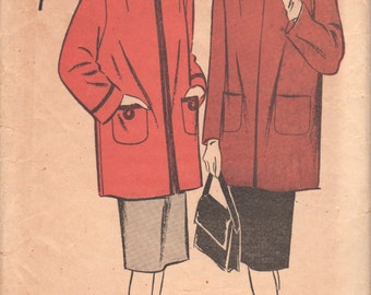 Advance 4286 1940s Misses Coat Pattern Topper Jacket Pattern Car Coat Shaped Neckline Womens Vintage Sewing Pattern Size 14 Bust 32