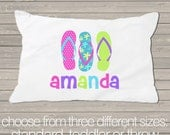 Summer flip flops pillowcase / pillow - custom personalized  pillowcase great birthday gift