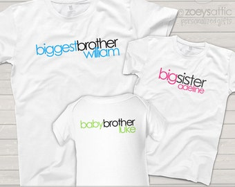 MATCHING sibling shirts-simple text biggest, big and baby sister or brother shirts - customize EVERYTHING