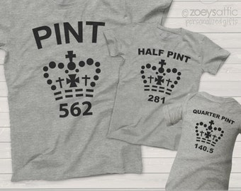 matching father son shirts pint, half pint, quarter pint matching shirts for father and son - great gift for Dad and father's day MDF1-023