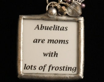 For ABUELITA - Reversible, Hand Soldered Charm Necklace with Butterfly and Baubles - Mother's Day- ME Designs