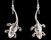 Bearded Dragon Earrings - Silver Bearded Dragon Charm - Lizard Charm Lizard Earrings Lizard Jewelry Reptile Jewelry