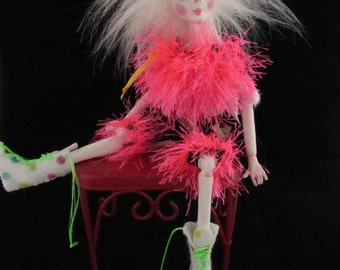 CLERISE A CLOWN, paper clay ball jointed puppet doll, handmade in the USA