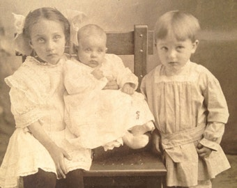 Antique Photo Card of Children Boy Girl and Baby Phillys Francis and Gertrude Warner Family 6 x 9 Ohio