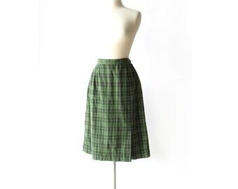 Vintage 50s Skirt / Green Plaid Skirt / 1950s Skirt / 28W