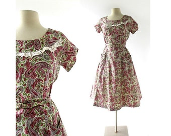 1940s Cotton Dress / Paisley Dress / 40s Day Dress / 1940s Dress / S M