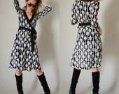 DVF Wrap Dress Vintage 90s Draped DIANE von FURSTENBERG Silk Jersey Knit Boho Designer Wrap Dress  (s m)