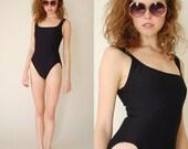 Little Black Swimsuit Vintage 80s Classic Black Textured Summer One Piece Swimsuit (xs s)