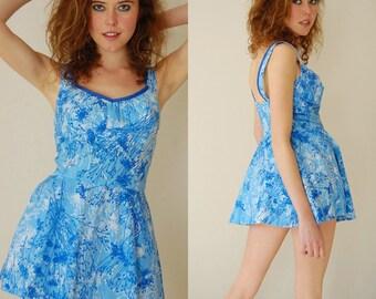 Resort Playsuit Vintage 60s Light Blue Dandelion Resort Summer Swimsuit Playsuit (s m)