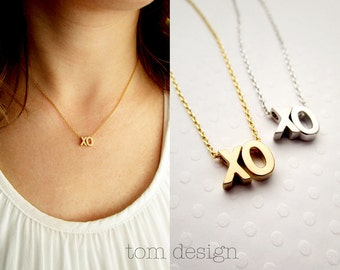 XO Necklace Uppercase - Silver XO Necklace Gold xo Necklace Rose Gold xo Necklce Love Necklace Bridal Jewelry Valentine's Hugs & Kisses