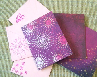 Glitter Galaxy Blank Notecards Set with Handstamped Envelopes