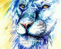 Lion art, Lion print, watercolor Lion art, Blue cat, Blue Courage Lion Watercolor print, Big Cat wall art