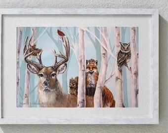 Deer art, Animal artwork, Deer in trees, Birch tree art, Fox with Crown, forest art, nursery wall art