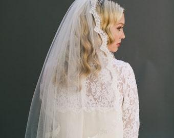Lace Wedding Veil, Chantilly Lace Veil, Alencon Eyelash Lace, Corded Lace Edge Veil, Ivory Veil Cathedral Veil, Single Layer Veil,  #1102