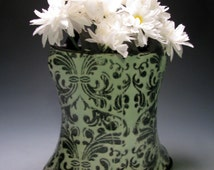 Mint and Black Flower Vase with Damask Pattern