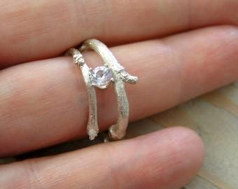 round diamond cut topaz budding twig sterling silver ring. Alternative engagement ring. Elvish ring