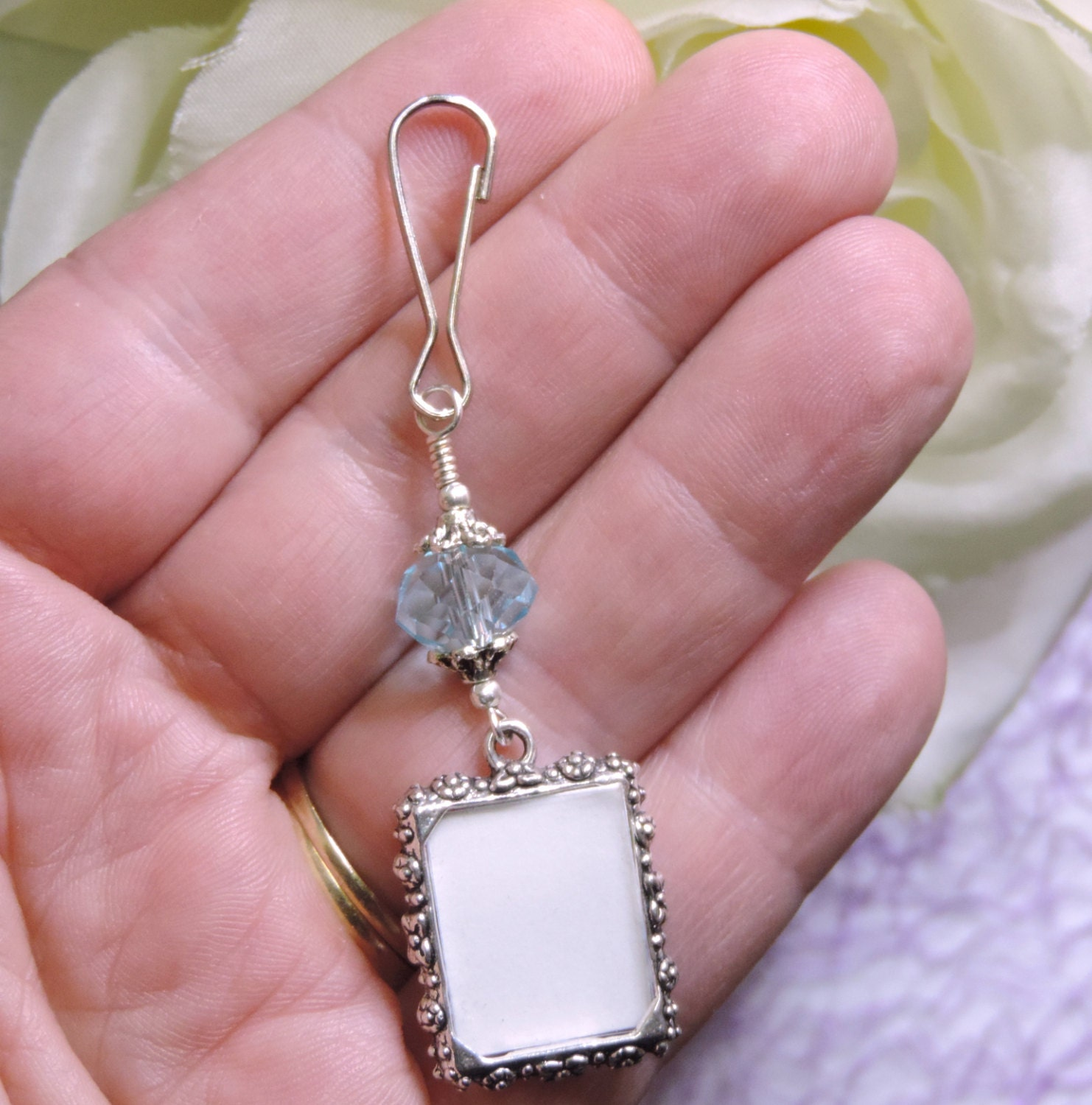 Wedding bouquet photo charm. Something blue for a bride. True