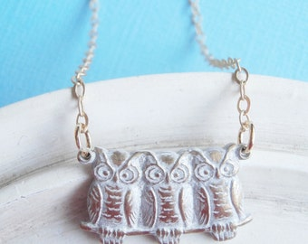 Three Owls on a Branch Necklace
