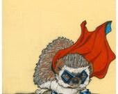Captain Hedgehog- Small Print 4.5x4.5
