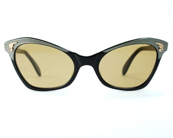 Vintage Cat-Eye Sun/ Eyeglasses Gray/Black/RoseGold Marz-Optic Sunglasses 47/ 19 Ready to Wear