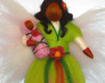 Needle felted Fairy, Pink Flower Fairy, Summer or Spring Fairy, African American, Waldorf doll, Angel, Blessing, Magic Wool