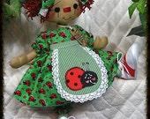 "Primitive Little 16"" Raggedy Ann ""LADYBUG ANNIE"" doll~by Ginger Creek Crossing"