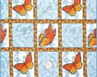 "A.E. Nathan Orange Monarch Butterflies Cotton Fabric 1/2 Yard 18"" x 44"""