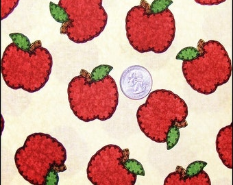 "Benartex Red Apples Folk Art Style School Teacher Cotton Fabric 1/2 Yd 18"" x 44"""