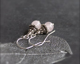 Light Pink Stone Dangle Drop Earrings Small Rose Quartz Gemstone Sterling Silver Jewelry