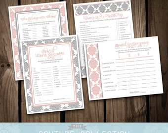 Bridal Shower GAME PACKAGE of 4 games - Pink and Grey or Gray Bridal Shower Damask Classic Romantic Shower - Printable DIY Digital File