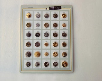 Vintage 1970's Metal Sample Sewing Buttons Card Fancy Buttons Shank Buttons Old Store Stock Tiger Button Company Inc