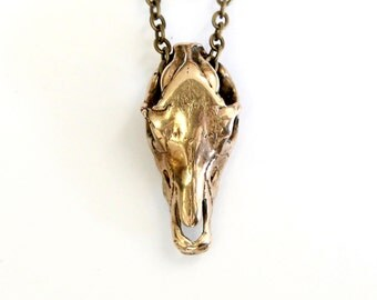 Horse Skull Necklace Bronze Horse Skull Pendant Necklace 205