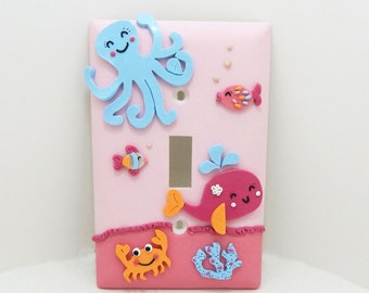 Under the Sea Light Switch Cover or Outlet Cover - Pink and Turquoise - Nautical Nursery - Childrens Sea Themed Decor - Toggle or Rocker