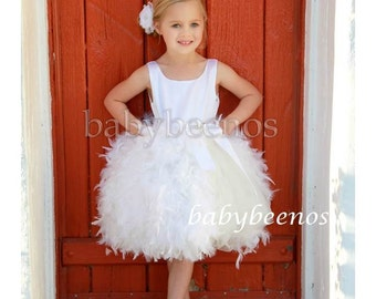 Flower Girl Dress, Flower girl dress, Feather Dress, tulle dress - France - Made to Order Girls Sizes - Girls Sizes - 12m, 2t, 3t, 4t