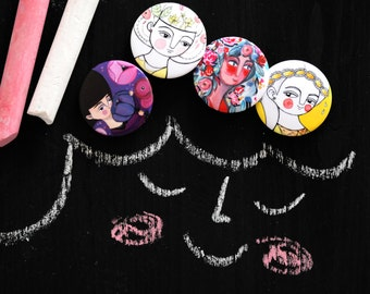 Spring PINS SET, girl portraits brooches, girly illustrations