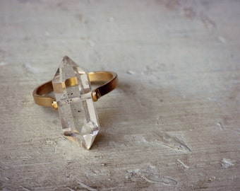 Solid 14k Gold Band Herkimer Engagement Ring
