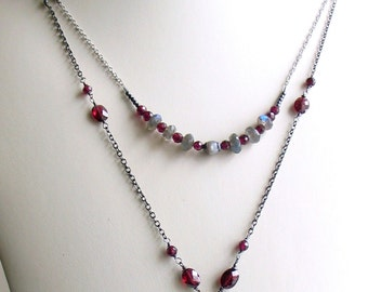 Multi Strand Gemstone Necklace, Enameled Art Pendant, Mixed Chains, Garnets and Labradorite, Artisan One of a Kind, January Birthstone