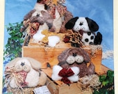 Krafdee & Co. #816 - Puppy Dog Tails - Cute Dog and Puppies - Soft Sculpture, Country, Shabby Chic, Primitive Stuffed Animals - LIKE NEW