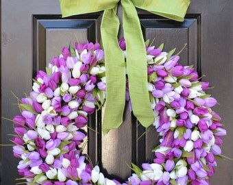 24 inch Spring Wreath- Spring Wreath- Door Wreath 24 inch- Lavender Wreath