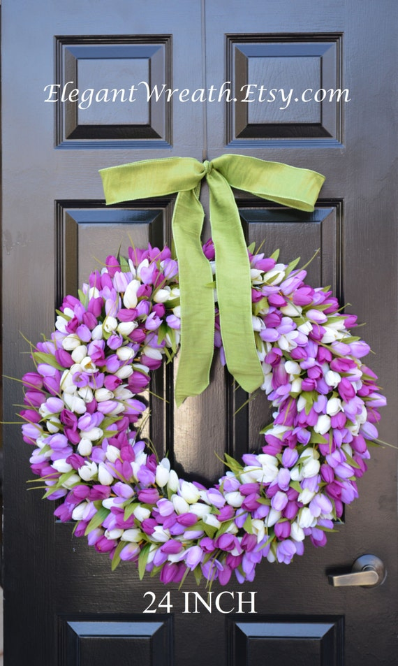 24 inch Spring Wreath- Spring Wreath- Door Wreath 24 inch- Lavender Wreath