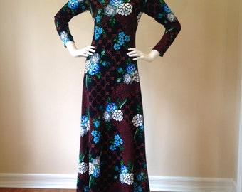 Vintage 1970's Long Sleeve Black Floral Print Maxi Dress
