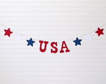 USA Banner - 5 Inch Letters with Stars - 4th of July Party Decor Patriotic Banner July 4th Banner USA Decor Patriotic Decor 4th of July Sign