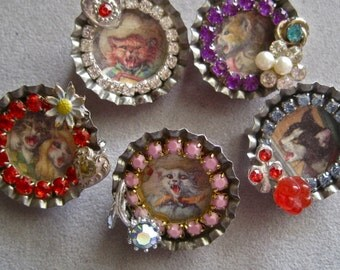 Kitty Chaos: Cat Brooch Vintage Assemblage Set of 5 Anthropomorphic Cats Alfred Mainzer One of a Kind Art to Wear 50s Rockabilly Bottle Caps
