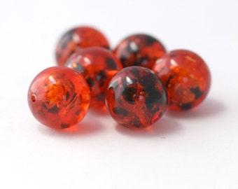 Vintage Orange Confetti Lucite Marble Round Beads 15mm (6)