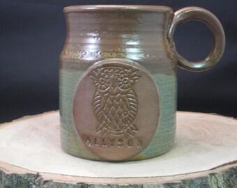 Personalized Handmade Ceramic Owl Mug - Custom Made - Stamped - Antique Blue and Redwood