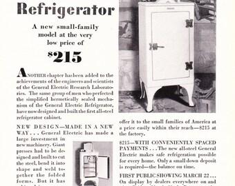 1920s Vintage Advertisement - General Elecrtic Refrigerator - Antique Art Illustration Print 20s Era Art Ad for Framing