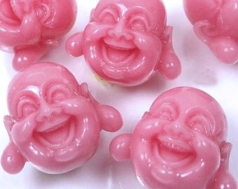 5 Pink Resin Coral Happy Buddha 3-D Beads 18mm (e7333)