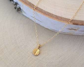 Petite Yellow Gold Leaf Necklace, Gold Vermeil Leaf Necklace, Gold Leaf Charm Necklace, Gold Vermeil Tiny Leaf Pendant, Gold Filled Chain