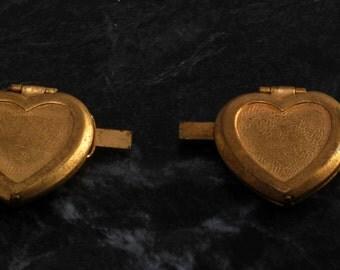 Vintage Locket Pair Brass Metal Reversed Bevel Connectors Jewelry Making